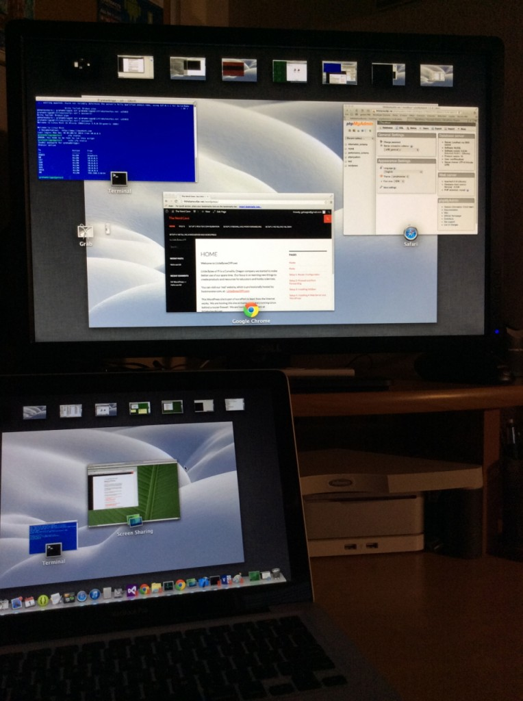 Multiple desktops, one for each machine, gives a view of the servers on the isolated sub-network